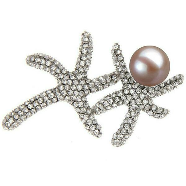 Brosa Pandantiv Stea de Mare cu Perla Naturala Lavanda, Mare, de 10 mm – Cadouri si perle