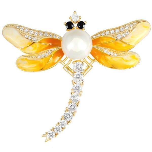 Brosa Pandantiv Libelula Galbena cu Perla Naturala Alba si Zirconii – Cadouri si perle