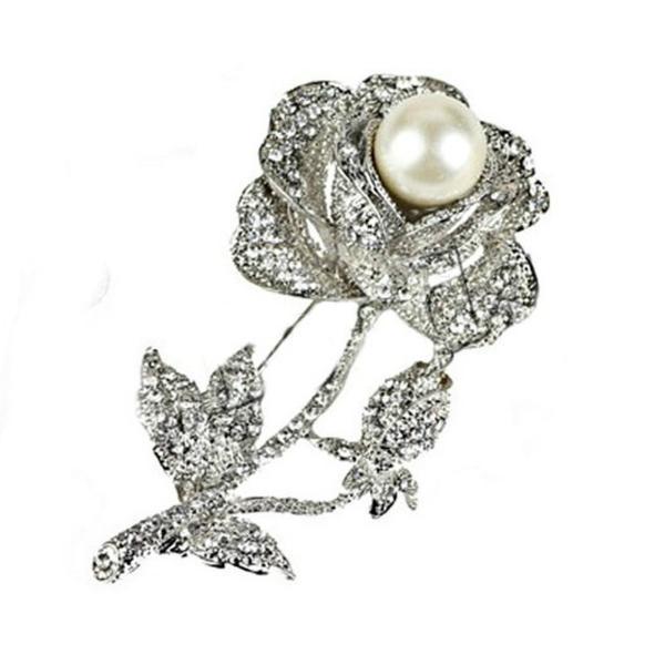 Brosa Pandantiv Trandafir Argintiu cu Perla Naturala Alba – Cadouri si perle