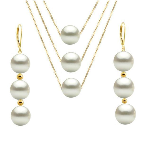 Set Triplu Aur de 14 karate si Perle Naturale Albe Premium – Cadouri si perle