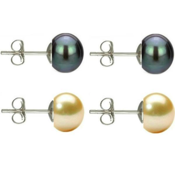 Set Cercei Argint cu Perle Naturale Negre si Crem de 7 mm – Cadouri si perle
