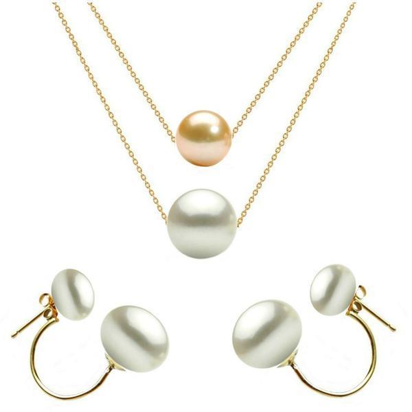 Set Dublu din Aur 14 karate si Perle Naturale Premium Crem si Albe – Cadouri si perle