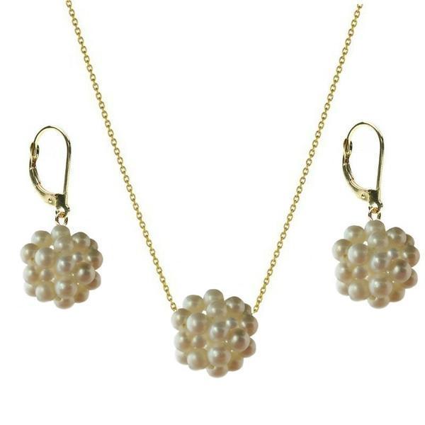 Set Aur Bulgarasi cu Perle Naturale Albe – Cadouri si perle