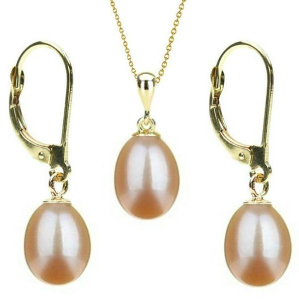 Set Aur 14k si Perle Naturale Teardrops Crem – Cadouri si perle