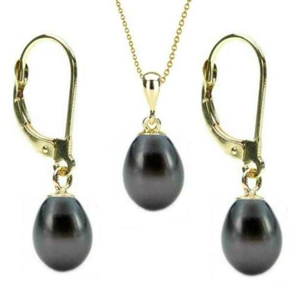 Set Aur 14k si Perle Naturale Teardrops Negre – Cadouri si perle