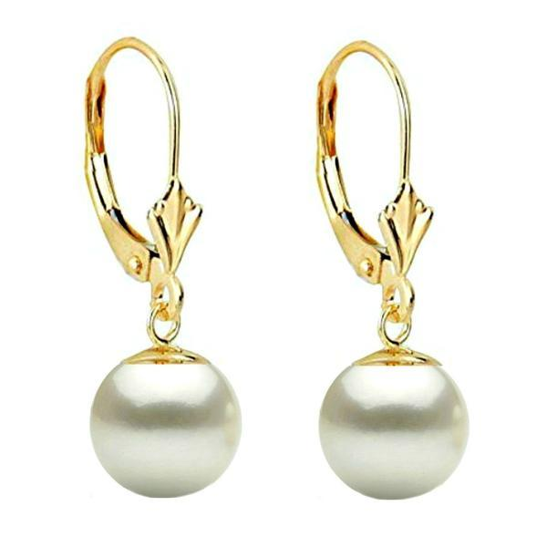 Cercei Aur Galben Model Lalea cu Perle Naturale Albe Premium de 8 m – Cadouri si perle