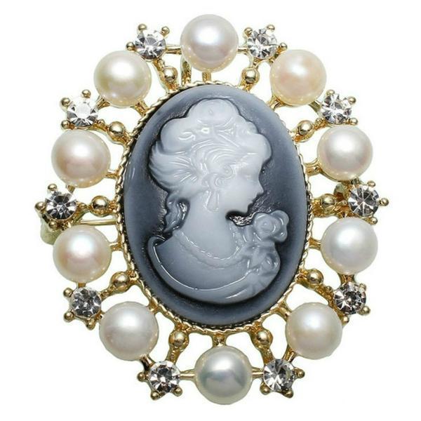 Brosa Pandantiv camee gri cu perle naturale albe – Cadouri si perle