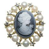Brosa Pandantiv camee gri cu perle naturale albe - Cadouri si perle