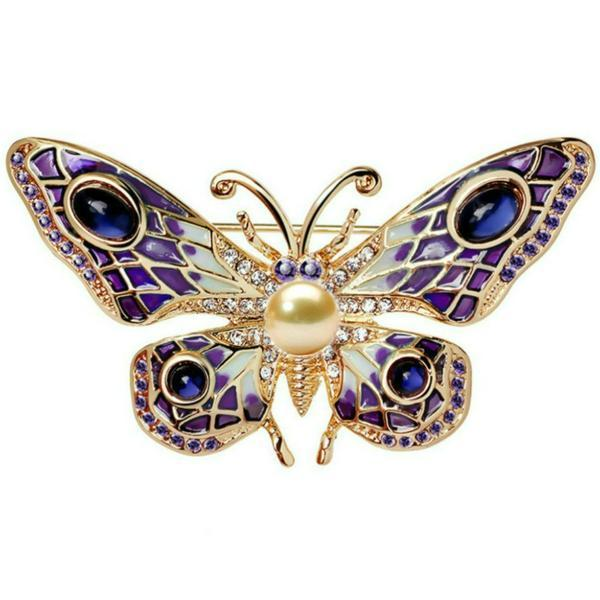 Brosa Pandantiv Fluture Mov Ochi de Pisica cu Perla Naturala Crem de 8 mm – Cadouri si perle
