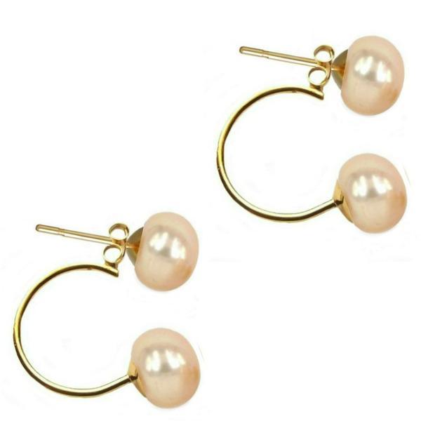 Cercei Double de Aur de 14k cu Perle Naturale Crem de 7 mm – Cadouri si perle