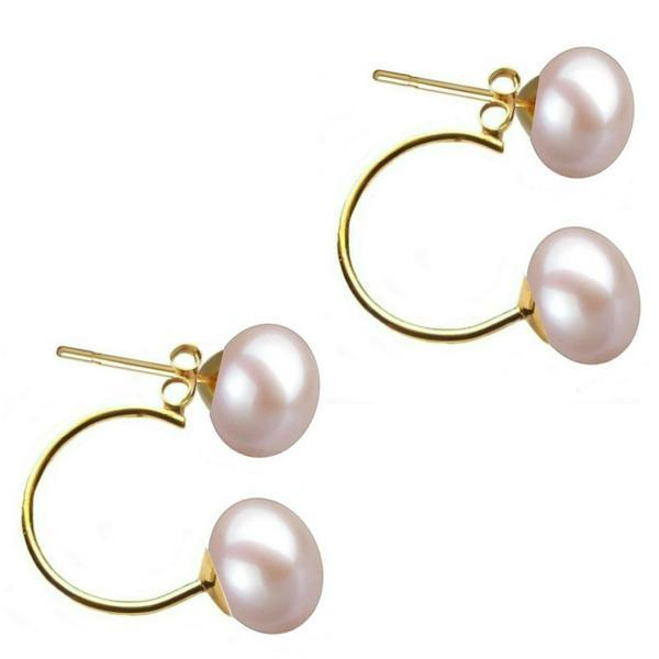 Cercei Double de Aur de 14k cu Perle Naturale Lavanda de 7 mm – Cadouri si perle