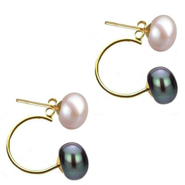 Cercei Double de Aur de 14k cu Perle Naturale Lavanda si Negre – Cadouri si perle