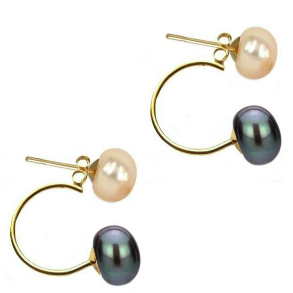 Cercei Double de Aur de 14k cu Perle Naturale Crem si Negre – Cadouri si perle