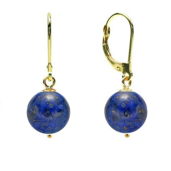 Cercei Aur 14 karate si Lapis Lazuli de 8 mm – Cadouri si perle
