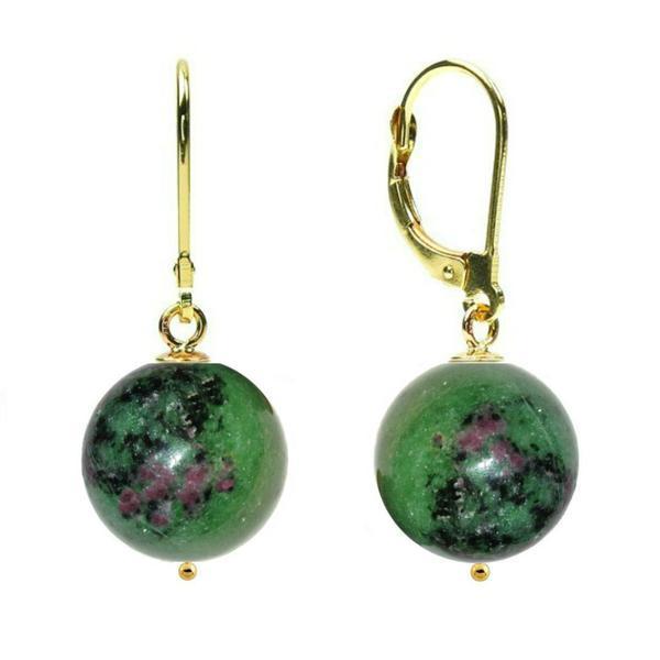 Cercei Aur 14 karate si Rubin in Zoisit de 12 mm – Cadouri si perle