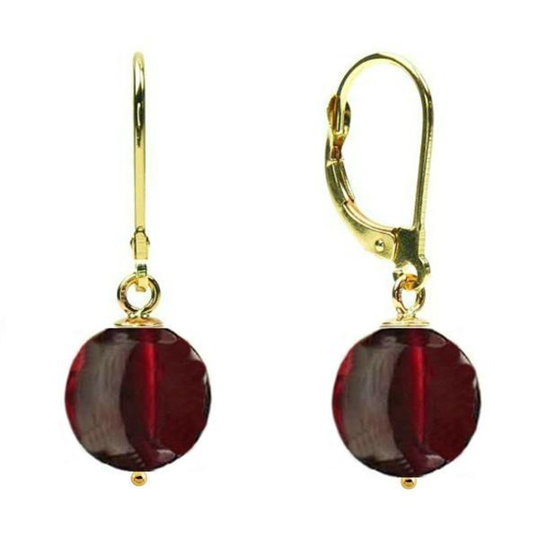 Cercei Aur 14 karate si Granat de 10 mm – Cadouri si perle