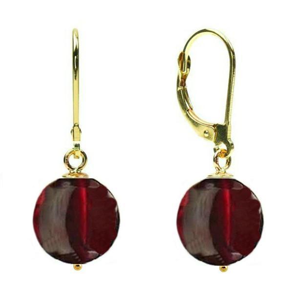 Cercei Aur 14 karate si Granat de 12 mm – Cadouri si perle