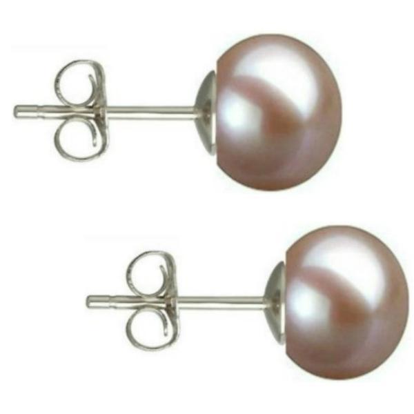 Cercei Argint cu Perle Naturale Buton, Lavanda, de 7,5 mm – Cadouri si perle