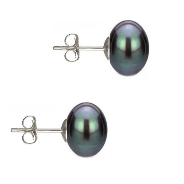 Cercei Argint cu Perle Naturale Buton, Negre, de 10 mm – Cadouri si perle