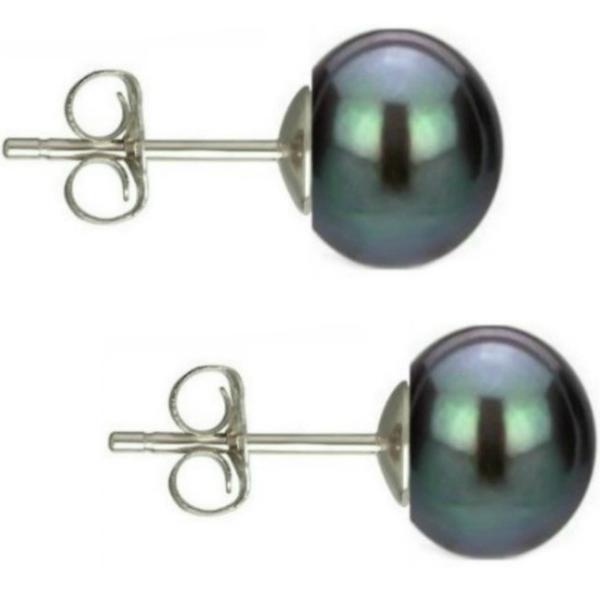 Cercei Argint cu Perle Naturale Buton, Negre, de 7,5 mm – Cadouri si perle
