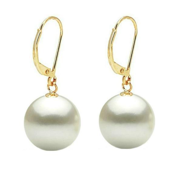 Cercei Aur si Perle Naturale Albe Premium de 10 mm – Cadouri si perle