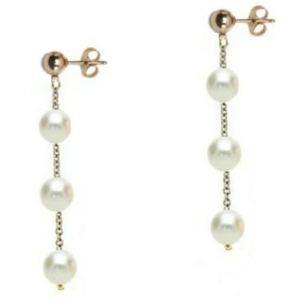 Cercei Aur Tripli cu Perle Naturale Akoya – Cadouri si perle