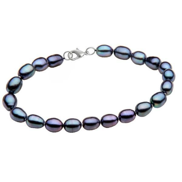 Bratara Perle Naturale Ovale Negre cu Inchizatoare Argint – Cadouri si perle