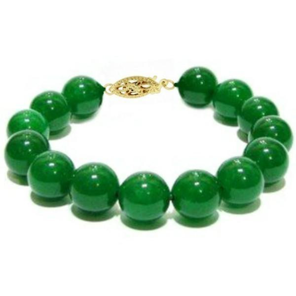 Bratara Aur Galben si Jad Natural Malaesian de 12 mm – Cadouri si perle