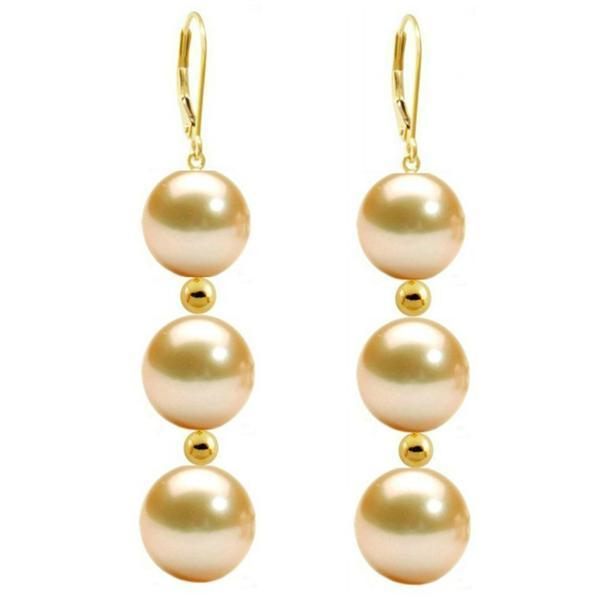 Cercei Tripli Aur de 14 karate si Perle Naturale Crem Premium – Cadouri si perle