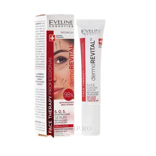 Ser anti-rid pentru față, Eveline Cosmetics Therapy Professional SOS DermoRevital 98%, 15 ml imagine produs