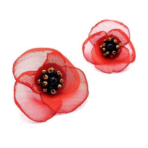 Cercei floare rosie, perle Swarovski, Zia, Zia Fashion