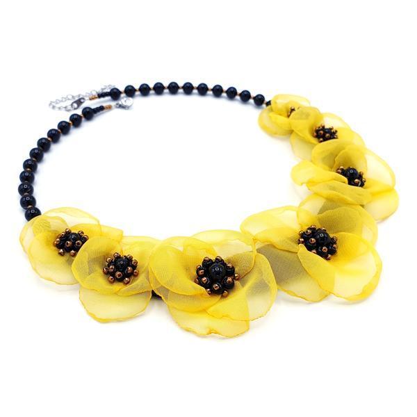 Colier statement cu flori galbene din voal stil matase, perle Swarovski, Ariana, Zia Fashion