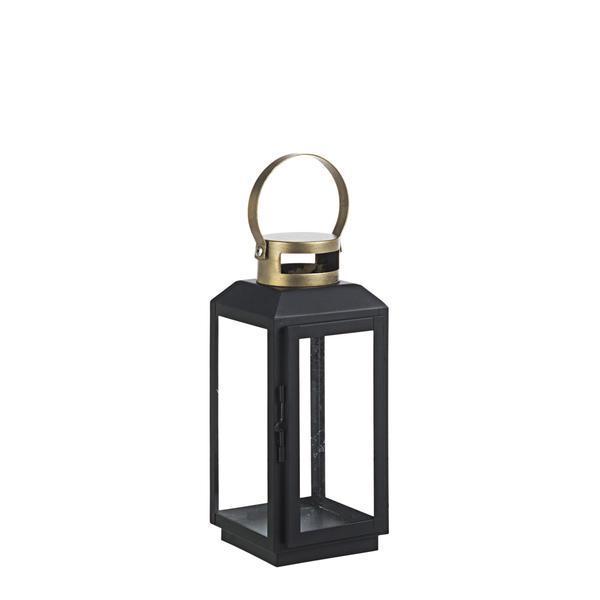 Felinar metal sticla negru auriu Crissie 13 cm x 13 cm x 29 h – Decorer