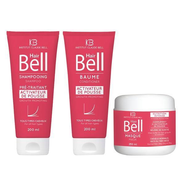 Pachet promo Hair Bell Crestere Par Sampon 200ml si Balsam 200ml si Masca 250ml Institut Claude Bell