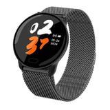 Ceas smartwatch unisex, rezistent la apa, compatibil cu Android si iOS, negru, Gonga