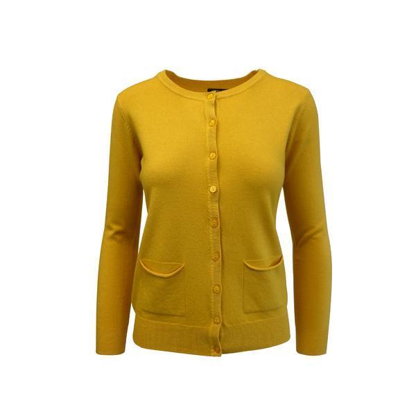 Cardigan, Univers Fashion tricotat fin, inchidere cu 9 nasturi, galben mustar, M-L