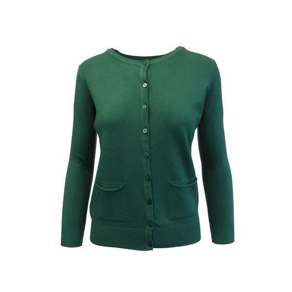 Cardigan, Univers Fashion tricotat fin, inchidere cu 9 nasturi, verde, S-M