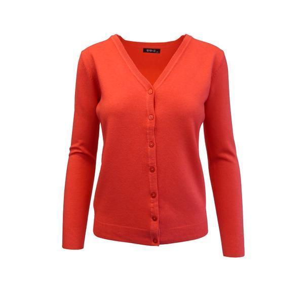 Cardigan, Univers Fashion tricotat fin , inchidere cu 7 nasturi, corai, M-L