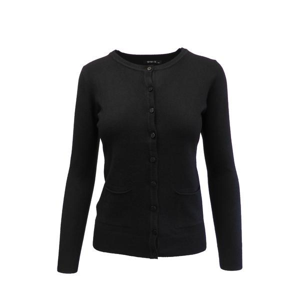 Cardigan, Univers Fashion tricotat fin, inchidere cu 9 nasturi, negru, M-L