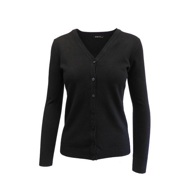 Cardigan, Univers Fashion tricotat fin, inchidere cu 7 nasturi, negru, M-L