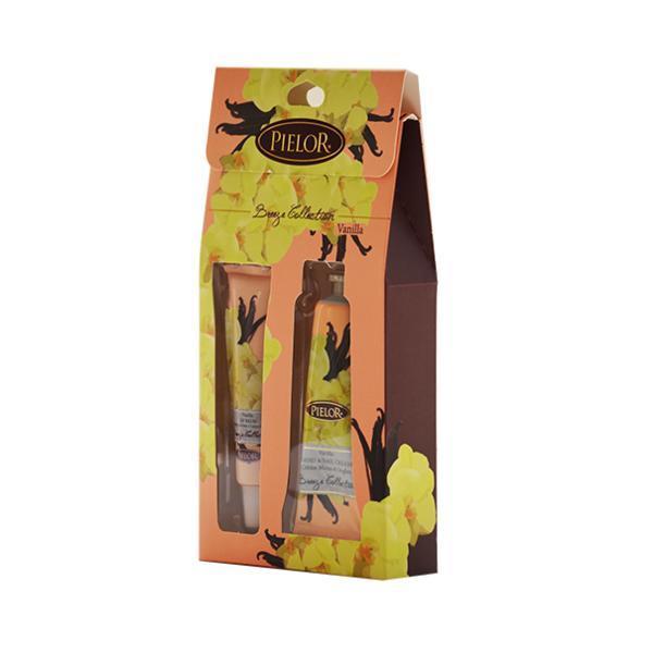 Set cadou balsam de buze 12ml + cremă de mâini 30ml - Pielor Vanilla Breeze Collection esteto.ro