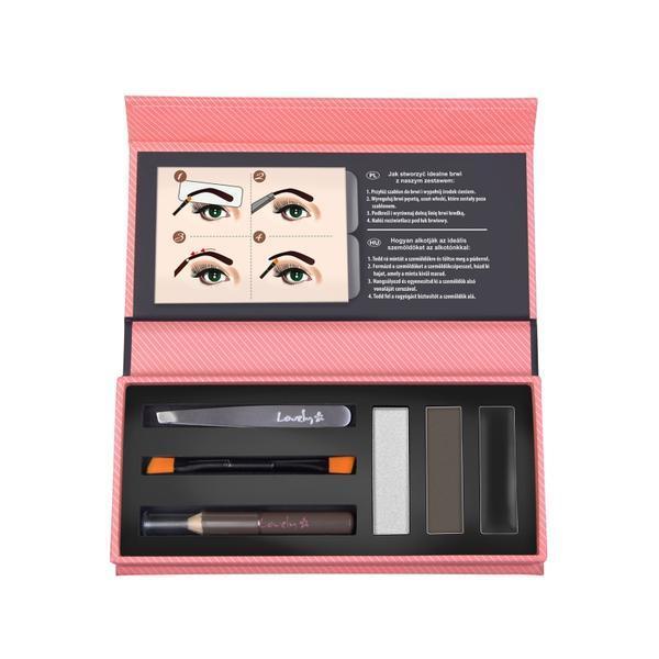Kit pentru stilizarea sprâncenelor Lovely eyebrows creator, Dark Edition imagine