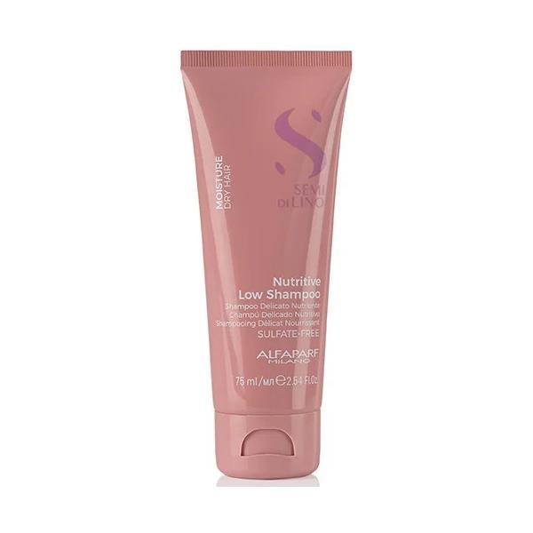 Sampon Hidratant pentru Par Uscat - Alfaparf Milano Semi Di Lino Moisture Nutritive Low Shampoo, 75ml imagine