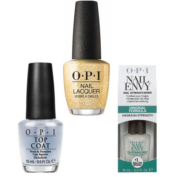 Set - OPI Nail Laquer - Dazzling Dew Drop - Lac de Unghii Colorat OPI, Baza OPI, Top OPI imagine produs