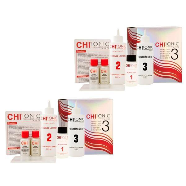 Pachet 2 x Kit pentru Par Natural, Rezistent si Aspru - CHI Ionic Permanent Shine Waves Selection 3 Kit imagine produs