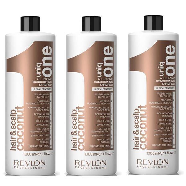 Pachet 3 x Sampon cu Nuca de Cocos - Revlon Professional Uniq One All In One Conditioning Shampoo 1000 ml imagine produs