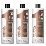 Pachet 3 x Sampon cu Nuca de Cocos - Revlon Professional Uniq One All In One Conditioning Shampoo 1000 ml