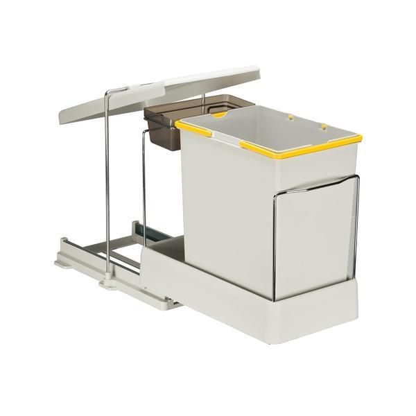 Cos de gunoi incorporabil Pelikan 21500, cu extragere automata, cu un recipient de 20 L si unul de 1 L