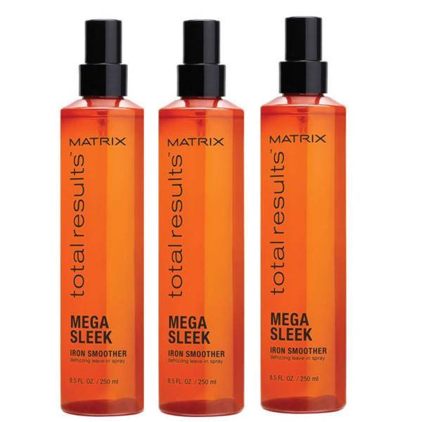 Pachet 3 x Tratament pentru Par Rebel - Matrix Total Results Mega Sleek Iron Smoother Spray 250 ml imagine produs