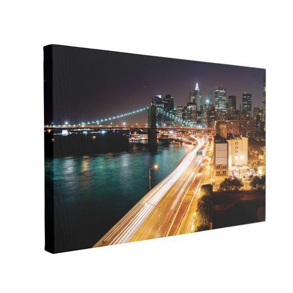 Tablou Canvas Night Light City, 70 x 100 cm, 100% Bumbac